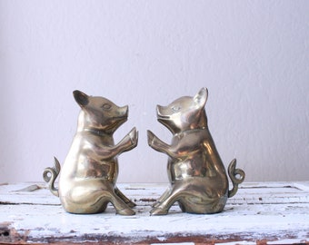 Vintage Brass Pig Bookends // Solid Brass