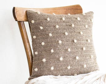 Natural Polka Dot Pillow Cover in Beige and White, 16 x 16 Crochet Wool Cushion Cover, Eco Friendly Home Decor