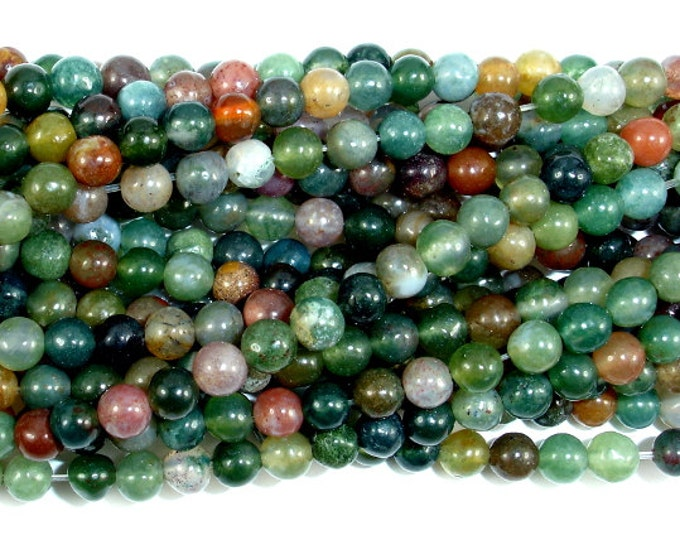 Indian Agate Beads, Fancy Jasper Beads, 4mm (4.5 mm) Round Beads, 15.5 Inch, Full strand, Approx 87 beads, Hole 0.8 mm (282054007)