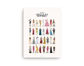 CANVAS Who Run the World Music Poster, The Future is Female Print, Queen B Gift for Her, Fun Pop Art Wall Art, Feminism Art Print