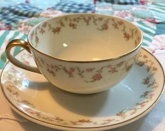 Vintage 2 Piece Tea Cup Set Dainty Pink Floral Theodore Haviland Limoges France