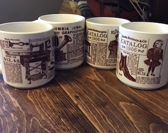 Sears Roebuck and Co Catalog 1906 Coffee Cups, Vintage, Set of 4