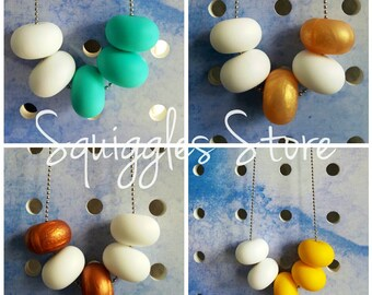 White with Gold, Copper, Yellow OR Turquoise Silicone Bead Necklace Hypo-allergenic Stainless Steel Chain FREE standard shipping