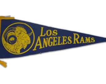 Vintage Los Angeles Rams Football Pennant. Circa 1960's.