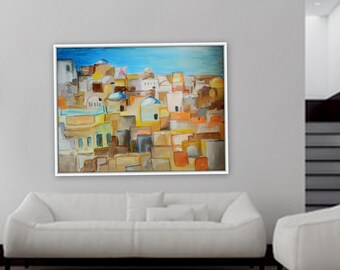"Large abstract modern contemporary greece artwork large acrylic painting 48"" x 36"""