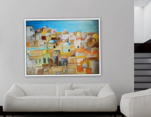 """Large abstract modern contemporary greece artwork large acrylic painting 48"""" x 36"""""""