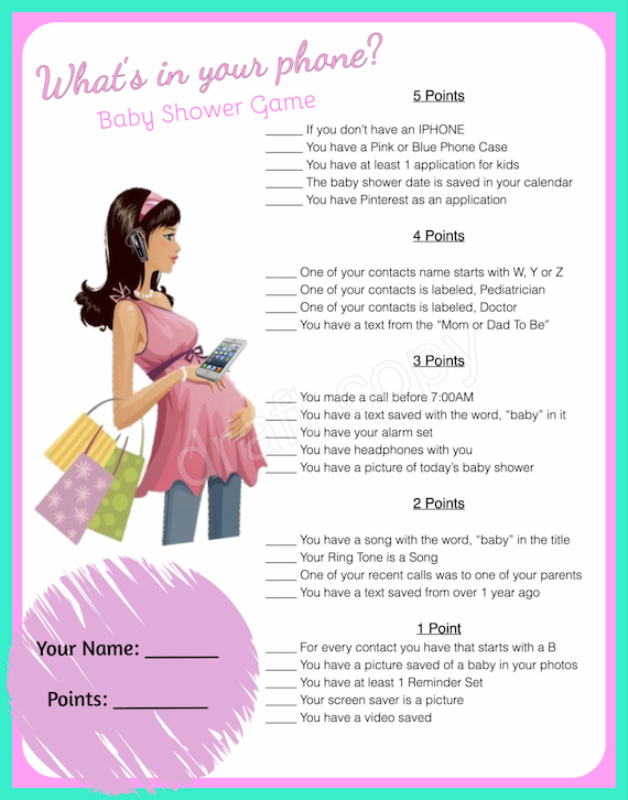 Bright image intended for what's in your phone baby shower game free printable