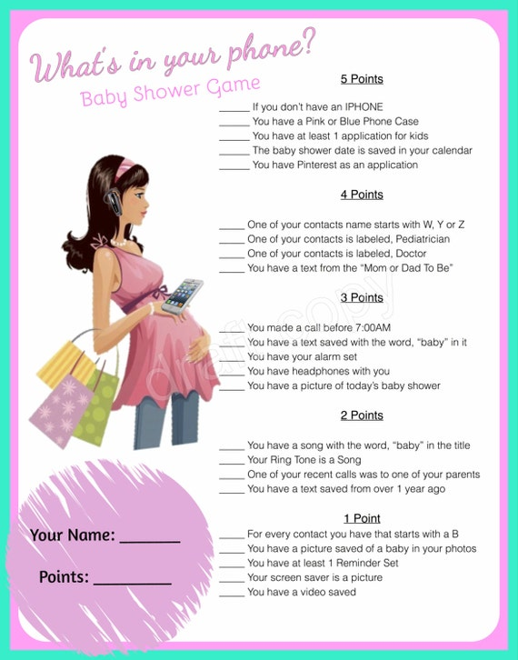 Epic image pertaining to what's in your phone baby shower game free printable