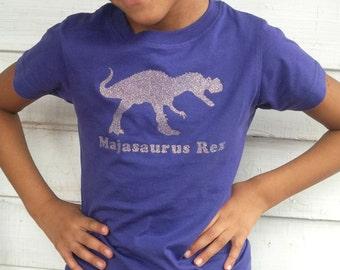 Personalized girl dinosaur birthday t shirt, T-rex and fun dinosaur name, glitter dinosaur shirt, gift for girls, birthday girl shirt