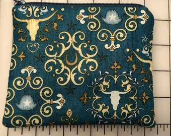 Zippered pouch - western teal