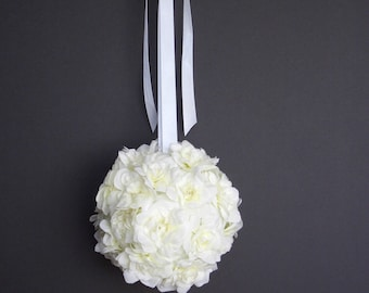 White Gardenia Pomander, FFT Original, Kissing Ball Wedding Bouquet Silk Bridal Flowers Flowergirl Bride Accessory