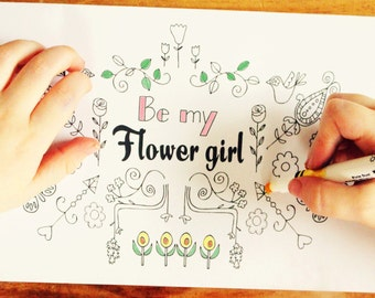 Be My Flower Girl - Will you be my Flower Girl Card -Coloring in Card - Flower Girl - Will you be my Flower Girl Prinatable Bridesmaid Card