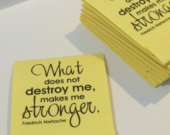 Nietzsche quote Inspirational Pastel Yellow Set of 10 Matchbook Mini Notepad Notebooks