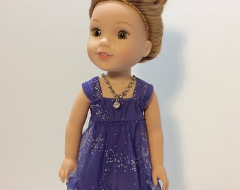 Purple Sparkle Party Dress, Wellie Wisher Doll Clothing, 14-14.5 Inch Doll Clothing, Made To Fit Wellie Wishers, Hearts 4 Hearts