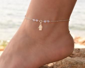 Moonstone Anklet Sterling Silver, Anklet, Hamsa Anklet, Beaded Anklet Bracelet, Silver Charm Anklet, Anklets for Women, Anklet Jewelry