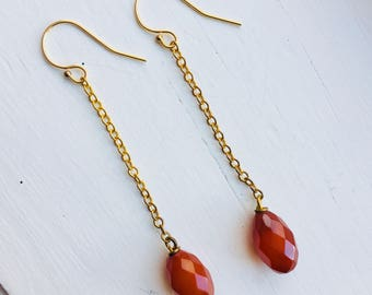 Thin Gold Drop Earrings