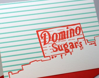 Baltimore Letterpress Card | Domino Sugars sign | red & turquoise single blank card with envelope