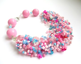 Pink and blue airy beaded necklace – seed bead necklace rose quartz, moonstone, mother of pearl – air multi strand pink blue beaded necklace