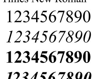 Number Cut SVG EPS DXF, Times New Roman