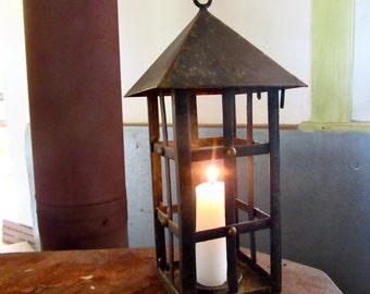 Metal Hanging Candle Lantern - Candle Holder - Metal Cage - Pyramid Lid - Hanging Lantern