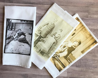 Custom Tea towel with your image recipe cards, gps, saying