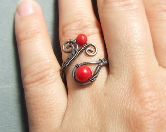 Red coral ring, natural copper ring,  wire wrapped ring, antique look rustic handmade jewelry