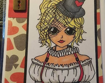 Handmade Alice in Wonderland QUeen of Hearts Blank Inside Happy Birthday Anniversary greeting card glitter coffee with matching envelope