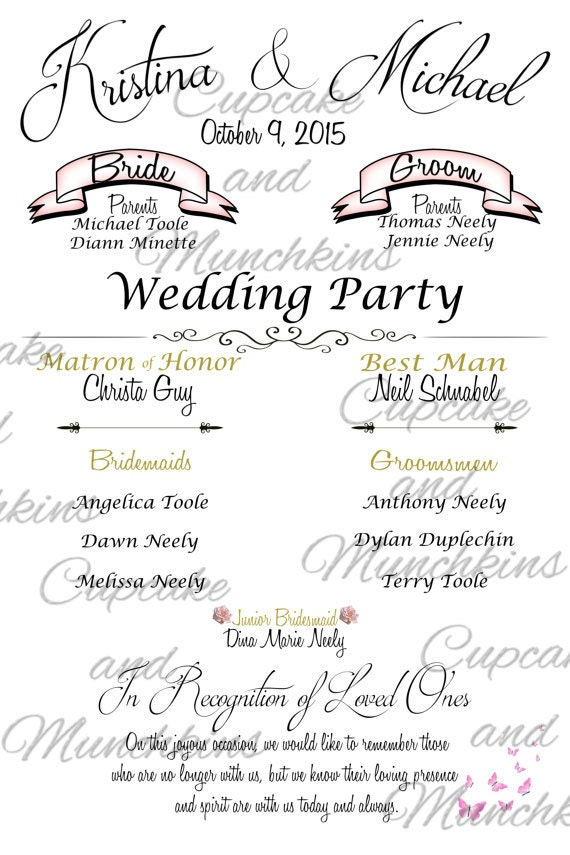 Wedding Program Board Welcome Sign In Memory Bridal