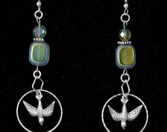 Handmade Beaded Iridescent Silver Bird Dangle Earrings