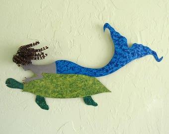 Mermaid metal wall art ocean decor- mermaid and turtle - Upcycled metal wall sculpture bathroom beach house coastal art 11x 22