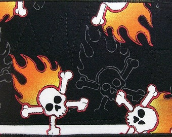 Quilted Postcard, Fabric Postcard, Mini Art Quilt, Flaming Skulls