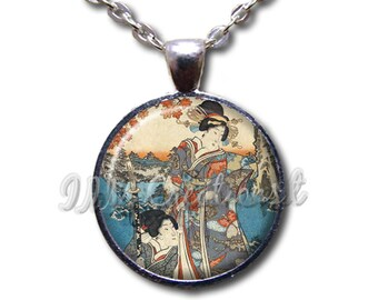 Japanese Geisha Women - Round Glass Dome Pendant or with Necklace by IMCreations - AP113