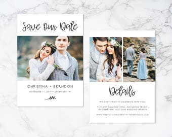 Printable Modern Script Double Sided Photo Card Save the Date