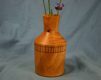 Laurel Wood Bud Vase or Weed Pot with Woodburned Accent Band