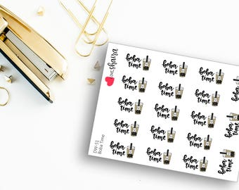 Boba Time | Milk Tea, Iced Tea, Bubble Tea Drink, Asian Drink, Tapioca Pearls, Thai Tea - Hand Drawn Hand Lettered Planner Stickers