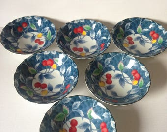 Japanese Bowl Set, Rice Bowls, Japanese Kitchenware, Set of Bowls, Japanese Bowls, Japanese Ceramics, Blue and White China, Made In Japan