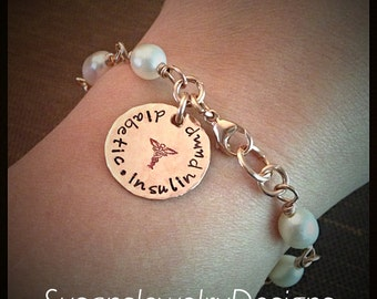 Medical Alert Wire Wrapped Pearl Bracelet - rose gold filled wire and 1 sided disc - genuine white pearls - custom wording available