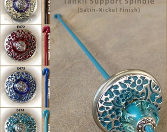 Tahkli Support Spindle - Beaded, Cast Alloy Whorl - Black, Red, Blue, or Teal (471-474 ) FREE SHIPPING