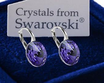 925 Sterling Silver Leverback Earrings *TANZANITE* Genuine Rivoli 12 mm Swarovski® Crystals