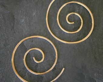 14k Gold Filled Spiral Earrings 14 karat Gold Fill Swirl Koru Ocean Wave Festival Size Medium