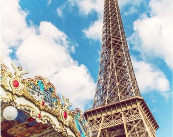 Paris Photography, Eiffel Tower Carousel Canvas Gallery Wrap, Large Wall Art Paris Print