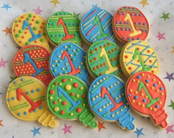 Balloon Decorated Cookie Favors - Birthday Decorated Cookies - Balloon Cookies - 1 Dozen