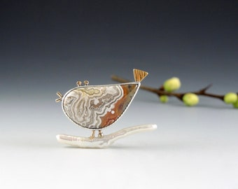 Bird Pin on Stick Pearl, Lace Agate, Bird Brooch, Sterling Silver and 14kt 18kt Gold, Bird Lover, Cream and Terra Cotta