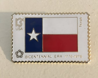 Texas Bicentennial Flag Patriotic Stamp Pin/ Tie Clasp 13 cent Red White Blue Mixed Media Art Jewelry 1776-1976