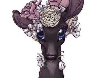 Flowery Fawn Print
