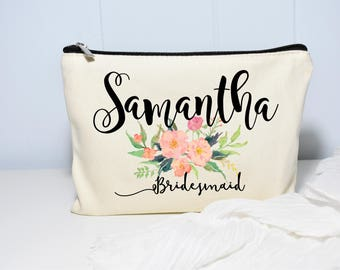 Best Friend Gift, Floral Makeup Bag, Makeup Case, Personalized Makeup Bag, Bridesmaid, Makeup Bag, Cosmetic Bag, Canvas Bag, Gift for Her
