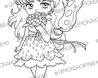 Digital Stamp Bouquet for You Fairy, Digi Download, Butterfly Flower Floral, Fantasy Clip Art, Coloring Page, Scrapbooking Supplies