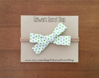 Baby girl bow, hand tied bow, baby girl headband, nylon headband, baby headband, school girl bow, fabric baby bow, baby bows, newborn bow