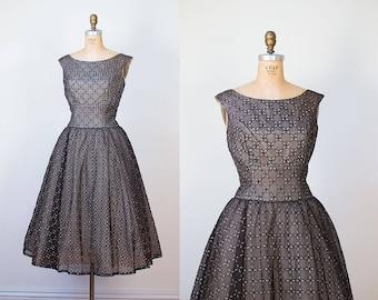 1950s Dress / 50s Flocket Velvet Party Dress