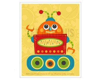 Robot Print - Robot 7 Wall Art - Funny Robot Wall Art - Baby Boy Robot Nursery Art - Robot Illustration - Colorful Robot Art - Art for Kids